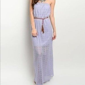 Lavender Strapless Belted Maxi Dress NWT